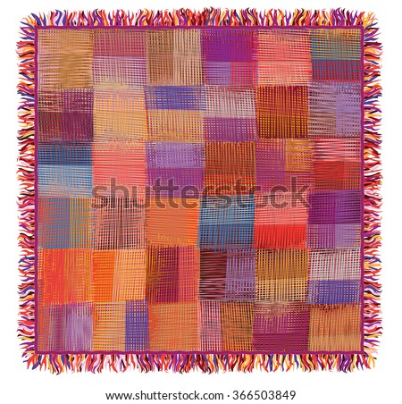 Grunge striped and checkered ,quilt,weave colorful plaid with fringe isolated on white - stock vector