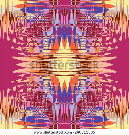 Grunge striped and stained symmetric colorful seamless pattern for web design - stock vector
