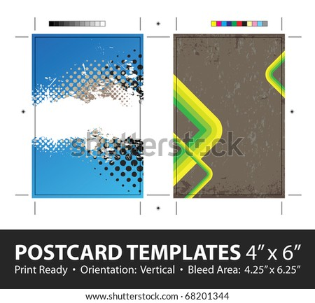 Grunge stripes postcard or direct mailer design template set with copy space. Customize this vector to suit the needs of your business. Print ready 4 x 6 with bleeds and crop marks. - stock vector