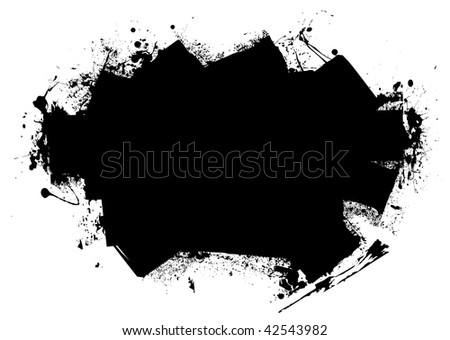 Grunge style black roller marks with ink splats and room for text - stock vector