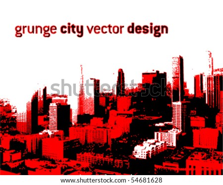 grunge style city design (VECTOR) - stock vector