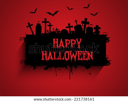 Grunge style Halloween background with graves and bats - stock vector