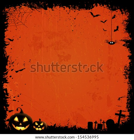 Grunge style Halloween background with pumpkins - stock vector