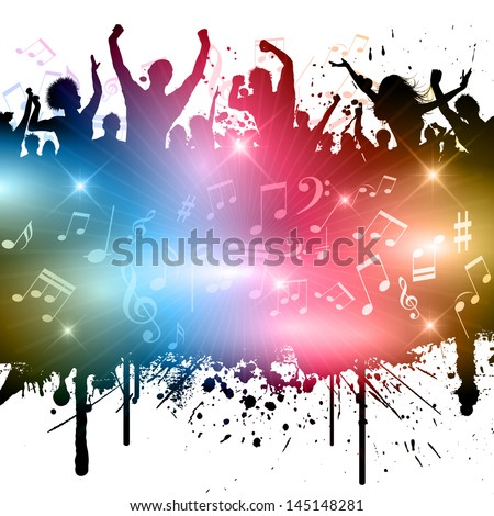 Grunge style image of party people with music notes. - stock vector