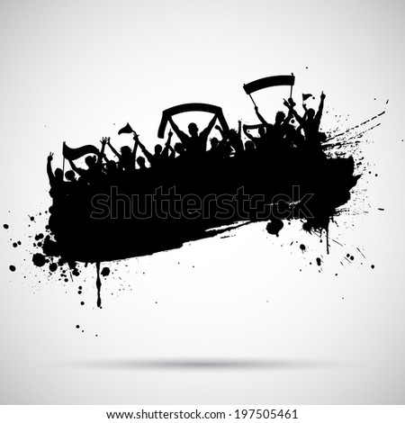 Grunge style silhouette of a football / soccer crowd - stock vector