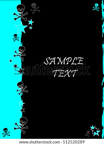 Grunge style, skull and stars vector background with feature color fluro blue