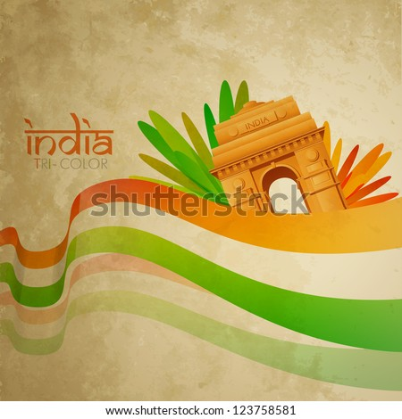 grunge style vector indian flag design - stock vector
