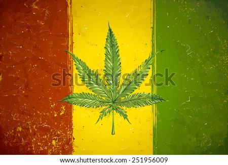 Grunge styled hand-drawn ganja leaf on rasta colored flag. Vector illustration. - stock vector