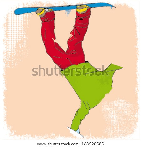 grunge styled snowboarder illustration - stock vector