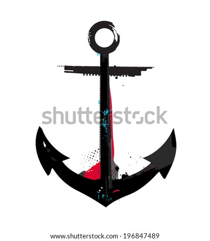 Grunge styled textured anchor symbol - stock vector