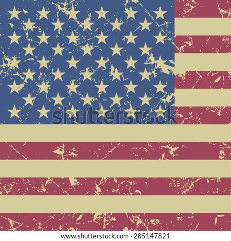 grunge styled with national flag of USA - stock vector