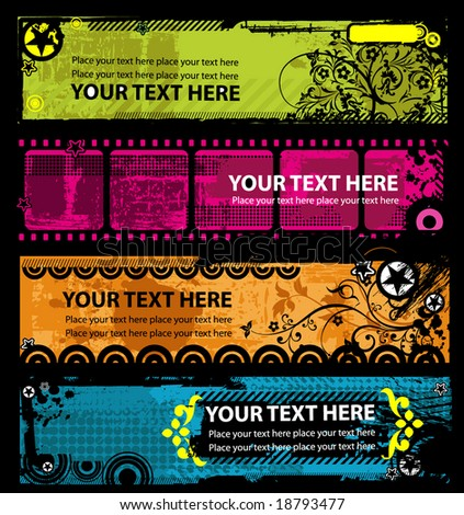 Grunge stylish banners with place for your text - stock vector