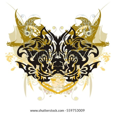 Grunge stylized butterfly with gold winged dragons. Tribal butterfly with colorful floral splashes