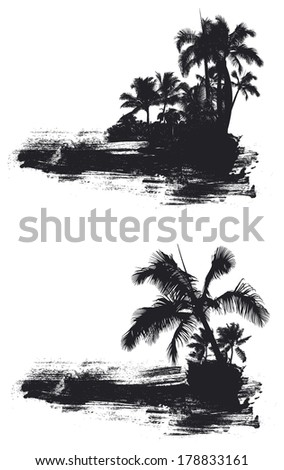 grunge summer scene with palms - stock vector