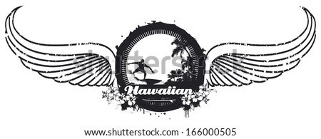 grunge summer shield with wings - stock vector
