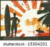 Grunge Summer Surfer Sunset Vector Illustration - stock vector