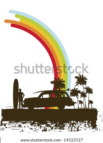 grunge surf illustration - stock vector