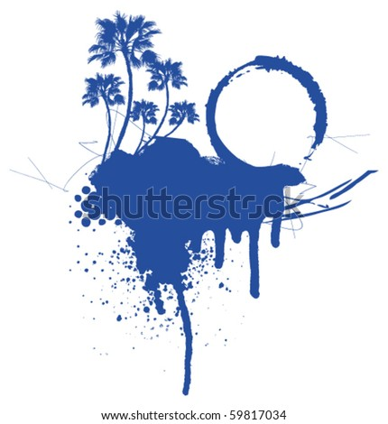 grunge surf scene in blue with shield