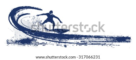 grunge surf scene with pipeline wave and surfer - stock vector
