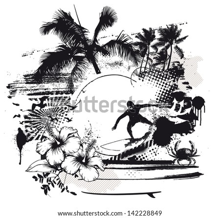 grunge surf scene with rider hibiscus and palms - stock vector