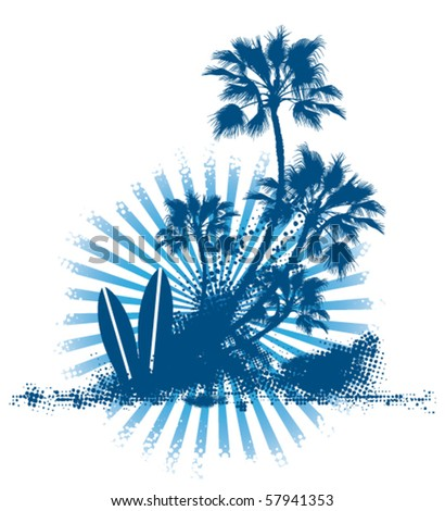 grunge surf table palm scene - stock vector
