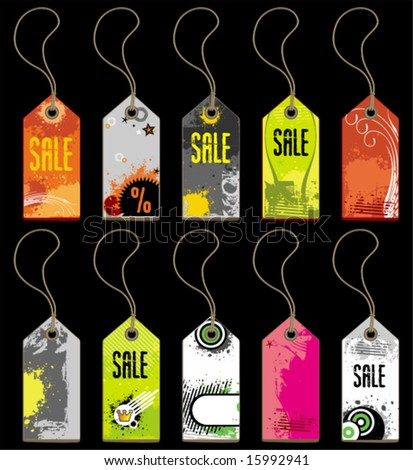 Grunge tags. To see similar, please VISIT MY GALLERY.  - stock vector