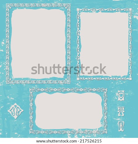 Grunge texture blue background. Set ornament frame - stock vector