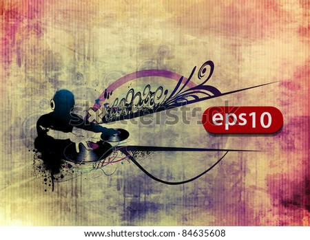 grunge texture colorful music dj banner. vector illustration - stock vector