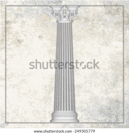 Grunge texture greece column background. eps10 vector illustration - stock vector