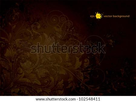 Dark Brown Grunge Texture Grunge Textured Floral Dark