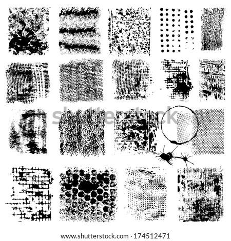 Grunge Textures - for design or scrapbook - vector set - stock vector