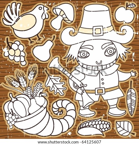 Grunge Thanksgiving elements on the wooden background. Pilgrim boy, turkey, cornucopia, vegetables, fruits and autumn leaves Thanksgiving series 3 - stock vector