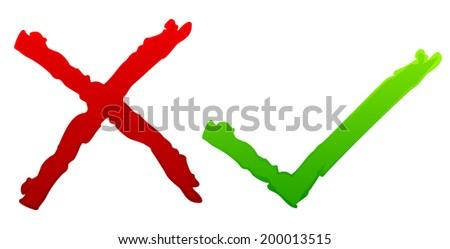 Grunge tick and cross - stock vector