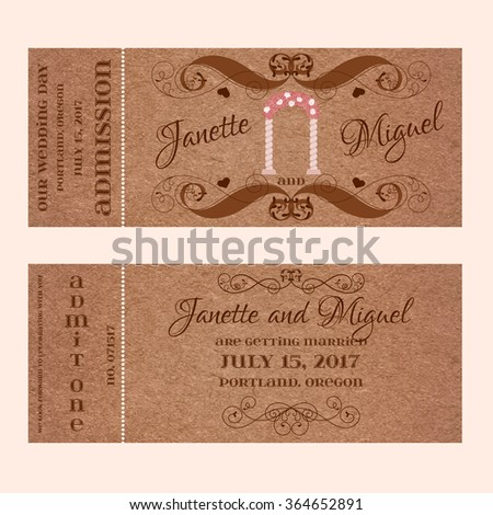 Grunge Ticket for Wedding Invitation with arc - stock vector