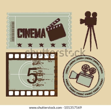 grunge ticket with seal and stripe film, cinema. vector illustration