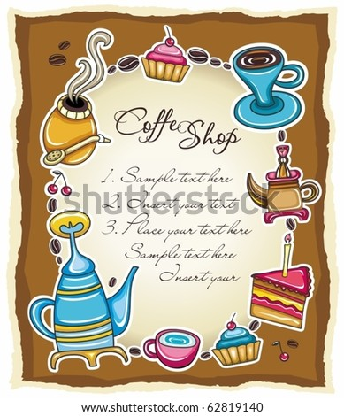 Grunge torn paper frame with coffee, tea, cake, yerba mate symbols - stock vector