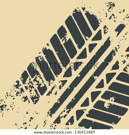 Grunge Trace Of Tires - stock vector