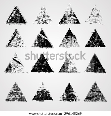 Grunge Triangles with High Detailed Distress Texture. Retro Star Shapes. Vector Illustration - stock vector