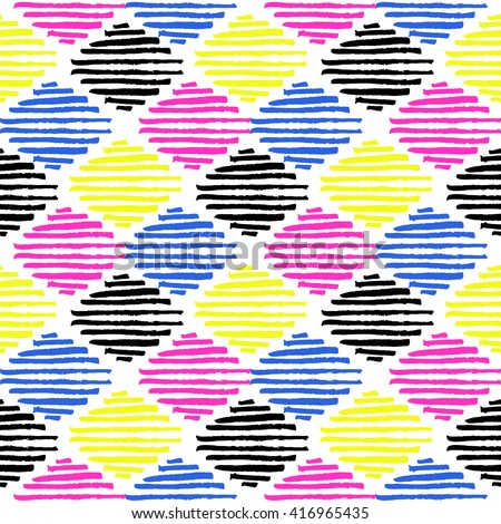 Grunge tribal brush stroke seamless pattern. Ethnic texture. 80s-90s style - stock vector