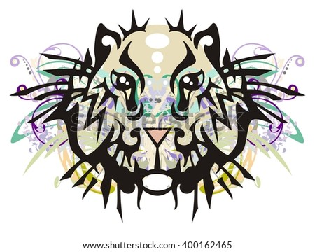 Grunge tribal hamster head. Ornate hamster head with floral elements splashes - stock vector