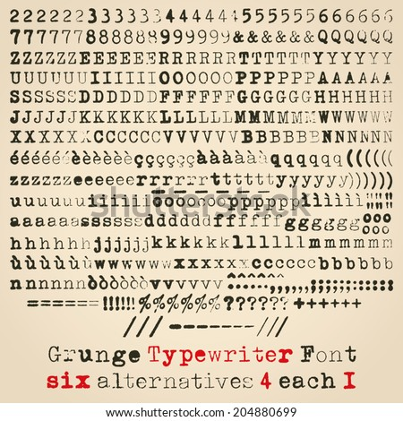 Grunge typewriter font. Six alternatives for each glyph - stock vector