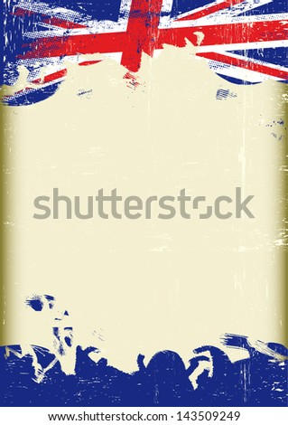 Grunge UK flag. A poster with a large scratched frame and a grunge union jack flag for your publicity. - stock vector