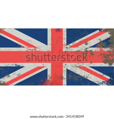 Grunge UK flag. National flag of the United Kingdom of Great Britain and Northern Ireland. Union Jack or Union Flag.  Red cross of Saint George superimposed on the Cross of St Patrick. Vector - stock vector