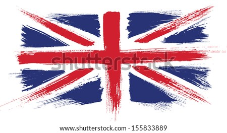 Grunge UK flag. Painted UK flag - stock vector