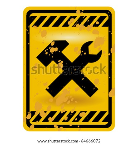 Grunge under construction warning sign isolated over white - stock vector