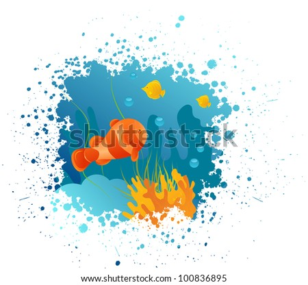 Grunge underwater background with clownfish, algae and corals - stock vector