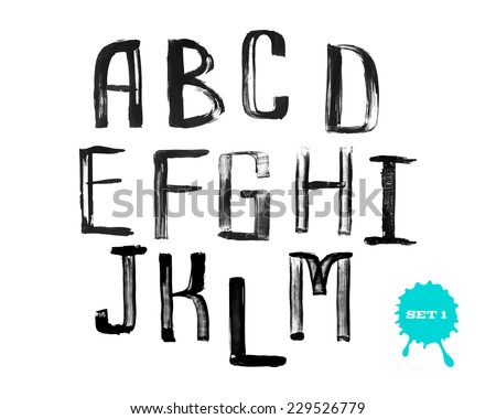 Grunge uneven handwritten paint alphabet, vintage calligraphy, stamp style font, capital letters, set 1 - stock vector