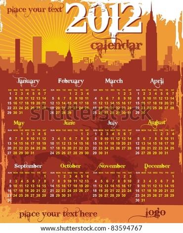 grunge urban calendar 2012 starts sunday - stock vector