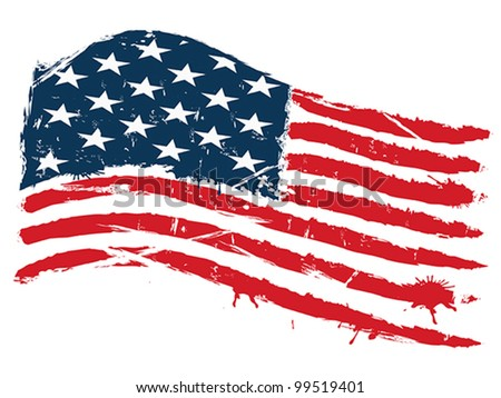 grunge usa flag - stock vector