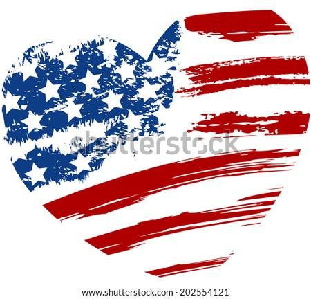 Grunge USA flag - splattered star and stripes in heart shape - stock vector